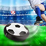 Elongdi Air Power Soccer Disk, Kids Training Football Toy Soccer with Light-Up LED Lights, Pneumatic Suspended Training Soccer Toy Hover Ball with Foam Bumpers for Indoor and Outdoor (Black)