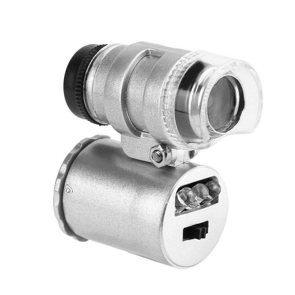 FASTROHY 60X Mini Pocket Handheld Microscope Camera Loupe Jeweler Magnifier LED Light Adjustable Focus
