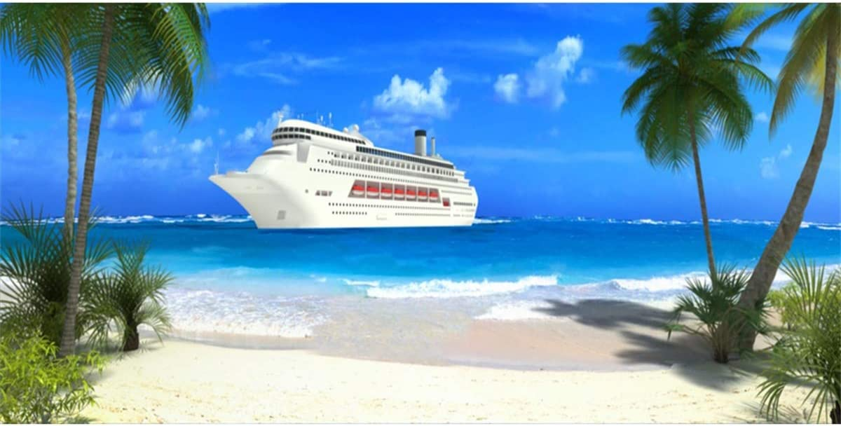 LFEEY 15x8ft Seaside Pier Cruise Ship Photography Backdrop Tropical Summer Beach Palm Tree Seascape Photo Background Wedding Party Travel Event Photo Booth Props