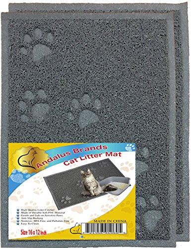 ANDALUS Cat Litter Mat, Gray, Small (16