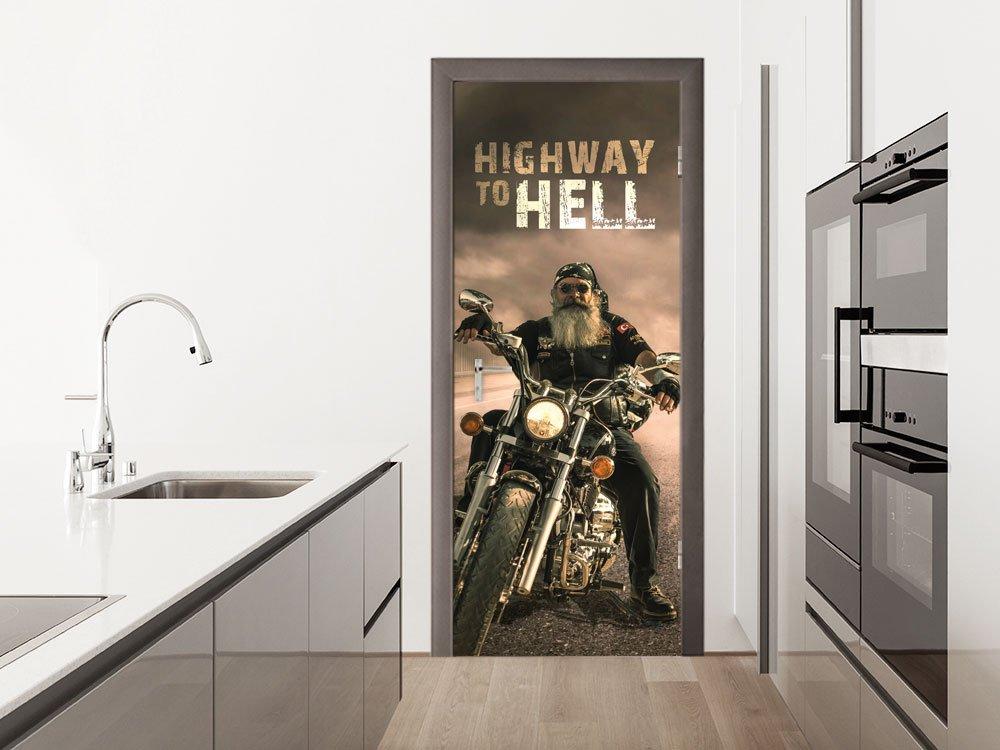 GRAZDesign Türtapete selbstklebend Rocker - Türfolie selbstklebend Spruch - Klebefolie Tür Biker - Fototapete Wohnzimmer-Tür / 80x205cm / 791707_80x205