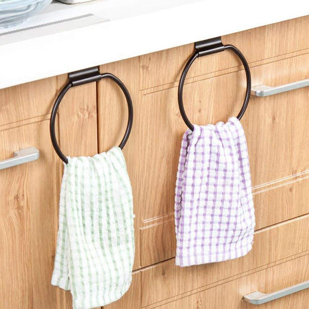 Ozzptuu 2pcs Over The Cabinet Metal Towel Rings Holders Multipurpose Dishcloth Towel Hanger Rack Organizer Used in Kitchen Bathroom