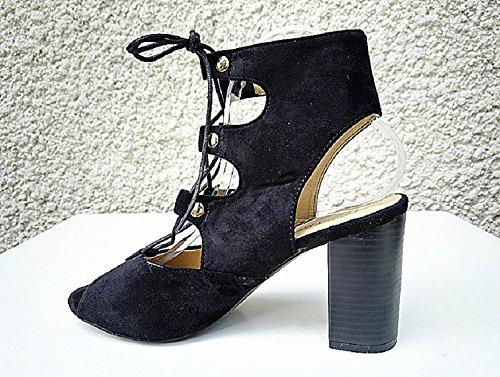 Sandalias con tacón alto-mujer-zapatillas de punta abierta compensada guiñada F-169, color negro