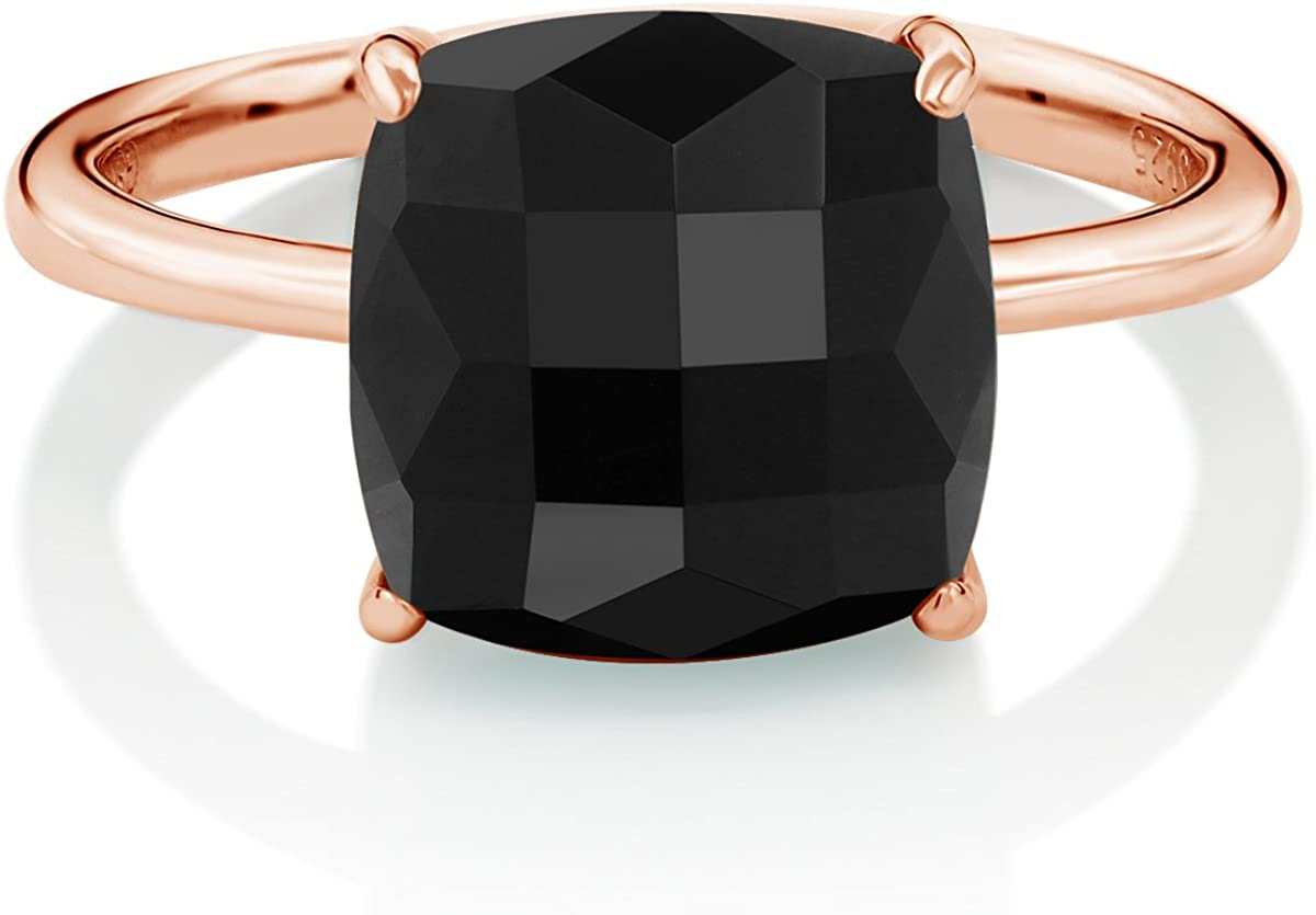 Amazon Com Gem Stone King 925 Sterling Silver Rose Gold Plated Checkerboard Square Black Onyx Ring 3 75 Cttw Available 5 6 7 8 9 Jewelry