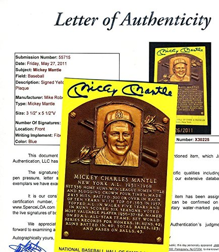 MICKEY MANTLE SIGNED JSA GOLD HOF PLAQUE AUTHENTICATED AUTOGRAPH