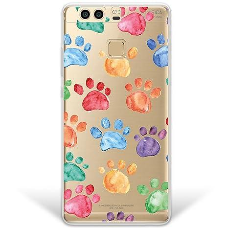 WoowCase Funda Huawei P9 Plus, [Hybrid] Huellas Perro Case Carcasa [Huawei P9 Plus] Rígida Fabricada en Policarbonato y Bordes de TPU Silicona híbrida ...