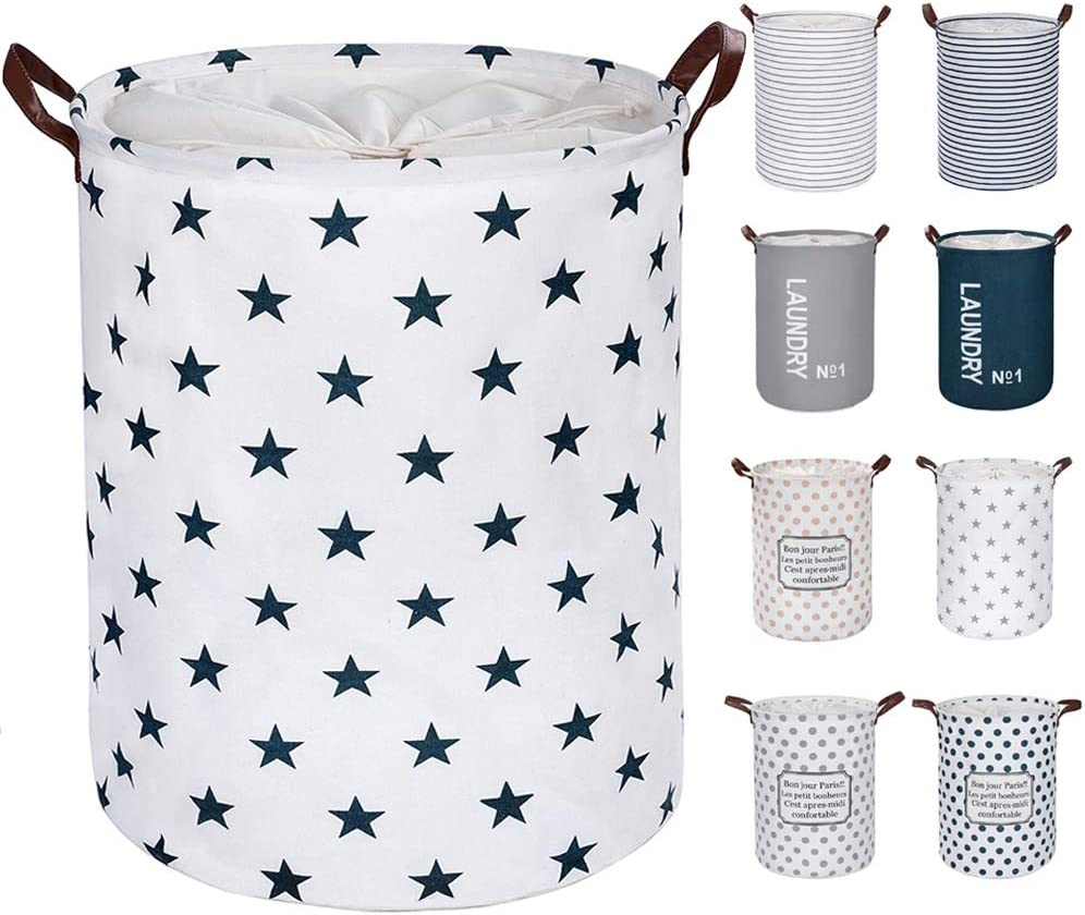 """FRIENDIY Large Laundry Hampers (9 Colors), Removable Laundry Basket,Foldable Fabric Laundry Basket, Drawstring Waterproof Round Cotton Linen Storage Basket. (Blue Star, Thickened 19""""/Large)"""