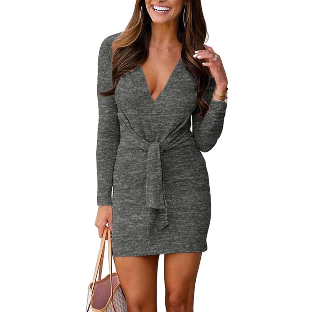 VANCOL Women's Deep V Neck Long Sleeve Tie Front Knit Mini Bodycon Sweater Dress Plain Party Club Dress(Dark Grey, L)