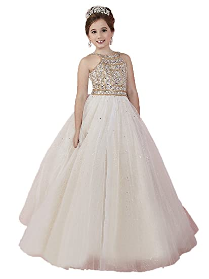 Amazoncom Huamei Girls Tulle Crystals Birthday Party Ball Gowns