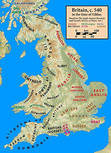 Home Comforts LAMINATED POSTER Map of post-Roman Britain, ca. 540 AD POSTER PRINT 24 X 36