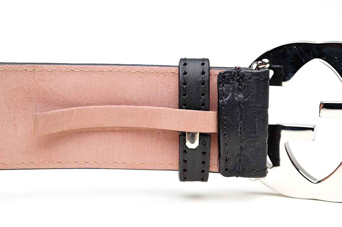 4a0dfe7c2 GUCCI GG Designer Unisex Black Leather Belt Buckle - Black - 42 IN: Amazon. co.uk: Clothing