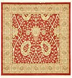 Unique Loom Edinburgh Collection Oriental Traditional French Country Red Square Rug (4' x 4')