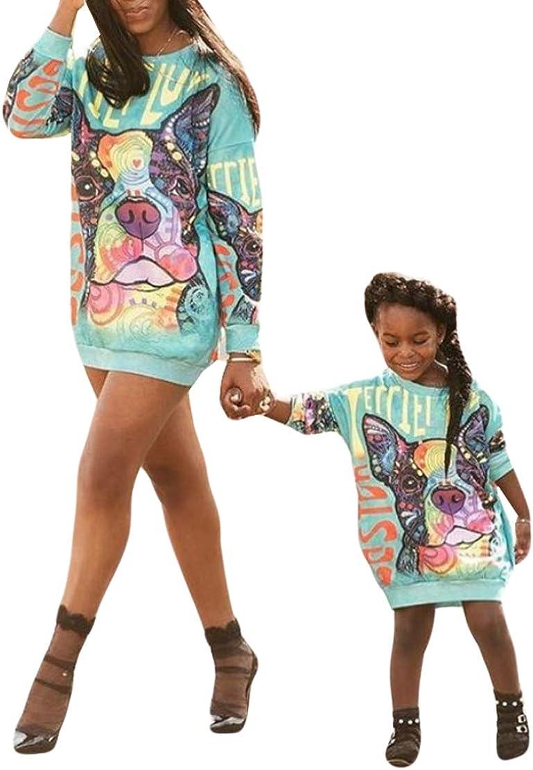 Sudadera Madre e Hija Invierno de Fiesta Manga Larga Casual Estampado Vestido Mamá y Yo para Niños Bebés Familias Ropa