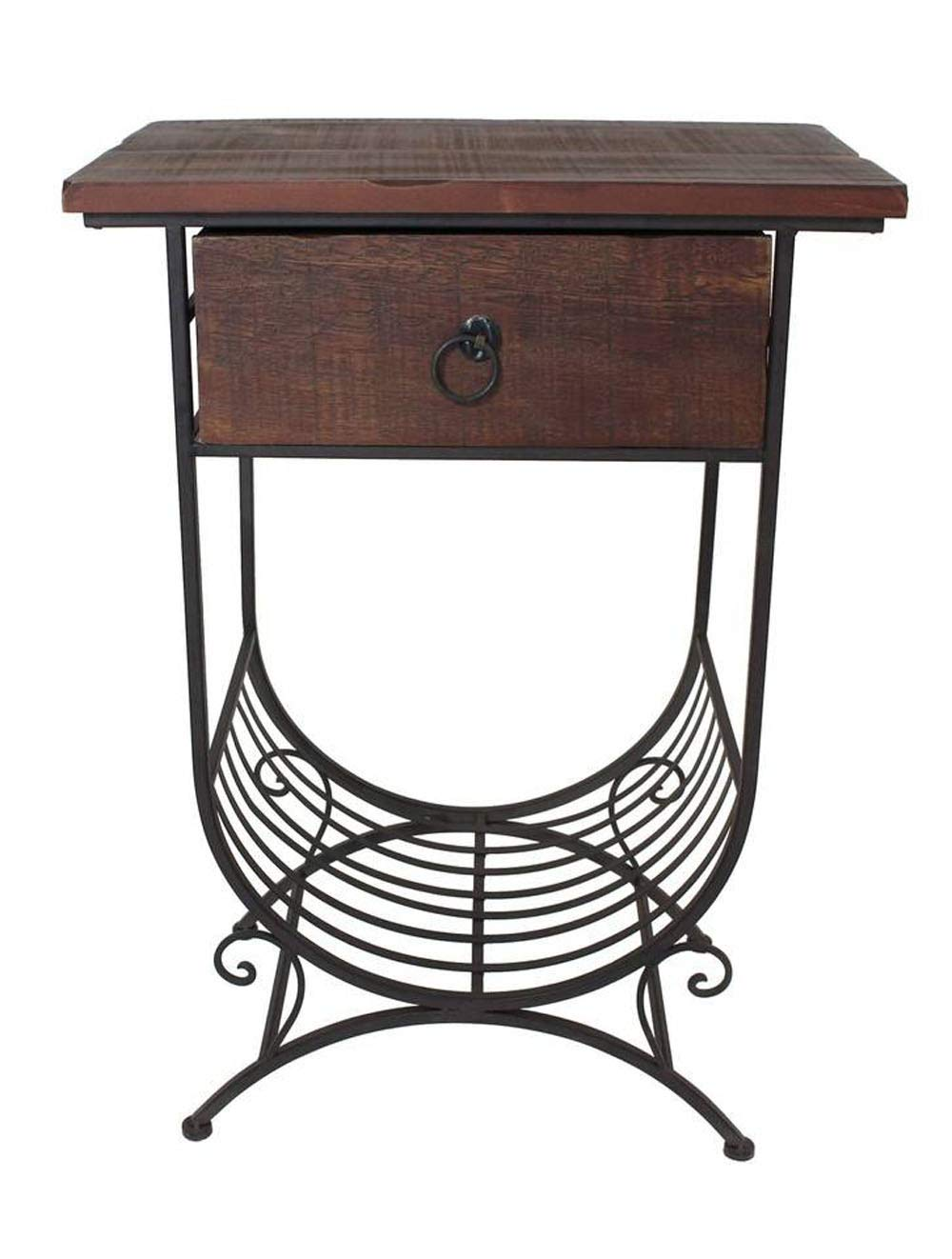 PierSurplus Accent Side Table w Wooden Top Drawer and Metal Bottom Magazine Rack Product SKU HD223549