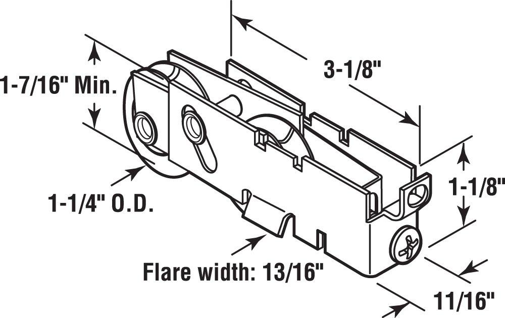 Slide-Co 131279 Adjustable Sliding Patio Door Tandem Roller Assembly