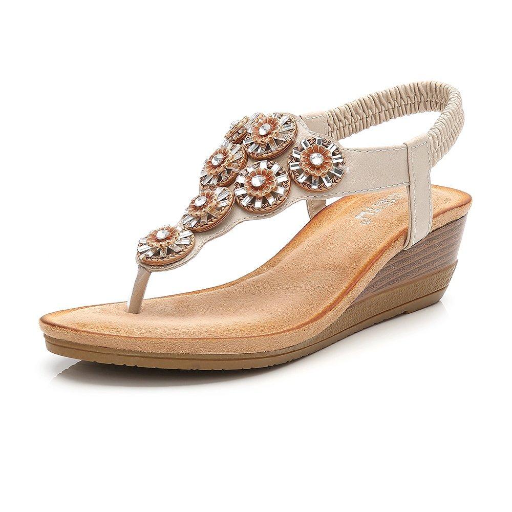 Meeshine Womens Wedge Sandal Platform Rhinestone Dress Sandals Bohemia Shoes Apricot-06 US 8