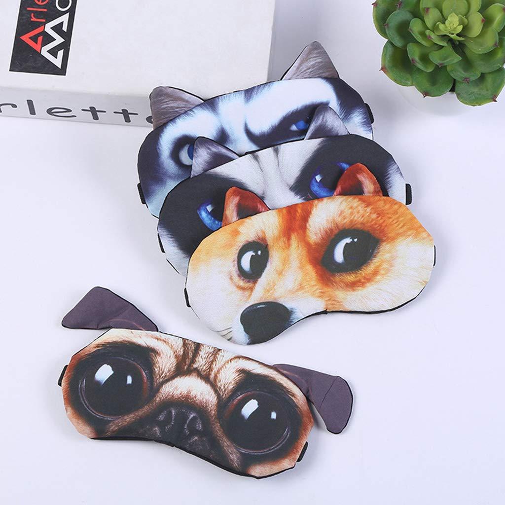 3D Marrant Animal Dessin Anim/é Chat Chien Imprim/é Pansements Oculaires Masque De Sommeil Coton Bandeau Portable Ajustable ECMQS Masque Pour Les Yeux
