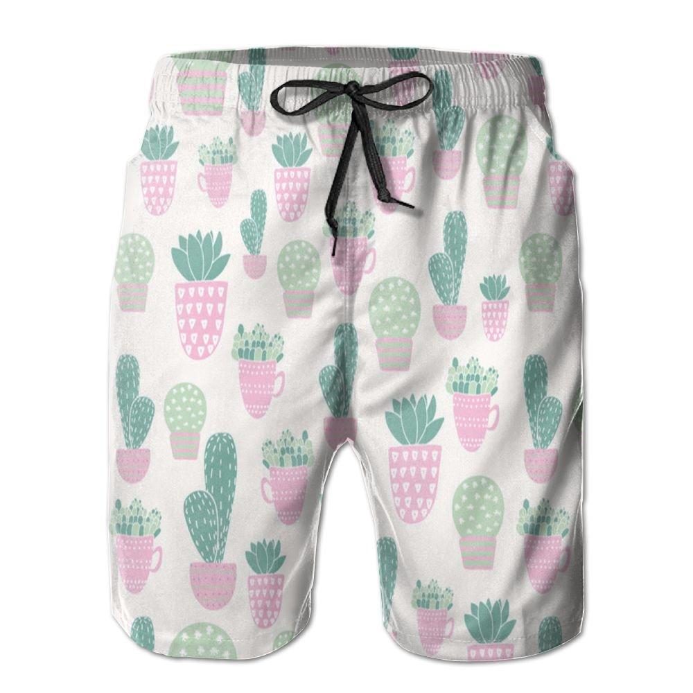 Alin-Z Cactus in Pink Vase Men's Quick Dry Swim Trunks Beach Surfing Shorts