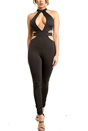 6d8cc7d6989b GENx Womens Sexy Club Open Front Halter Side Cutout Skin Tight Jumpsuit  MJ7916 (S