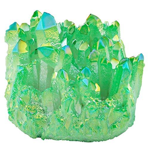 SUNYIK Green Titanium Coated Crystal Cluster,Quartz Drusy Geode Gemstone Specimen Specimen Sphere Figurine(0.2-0.3lb)