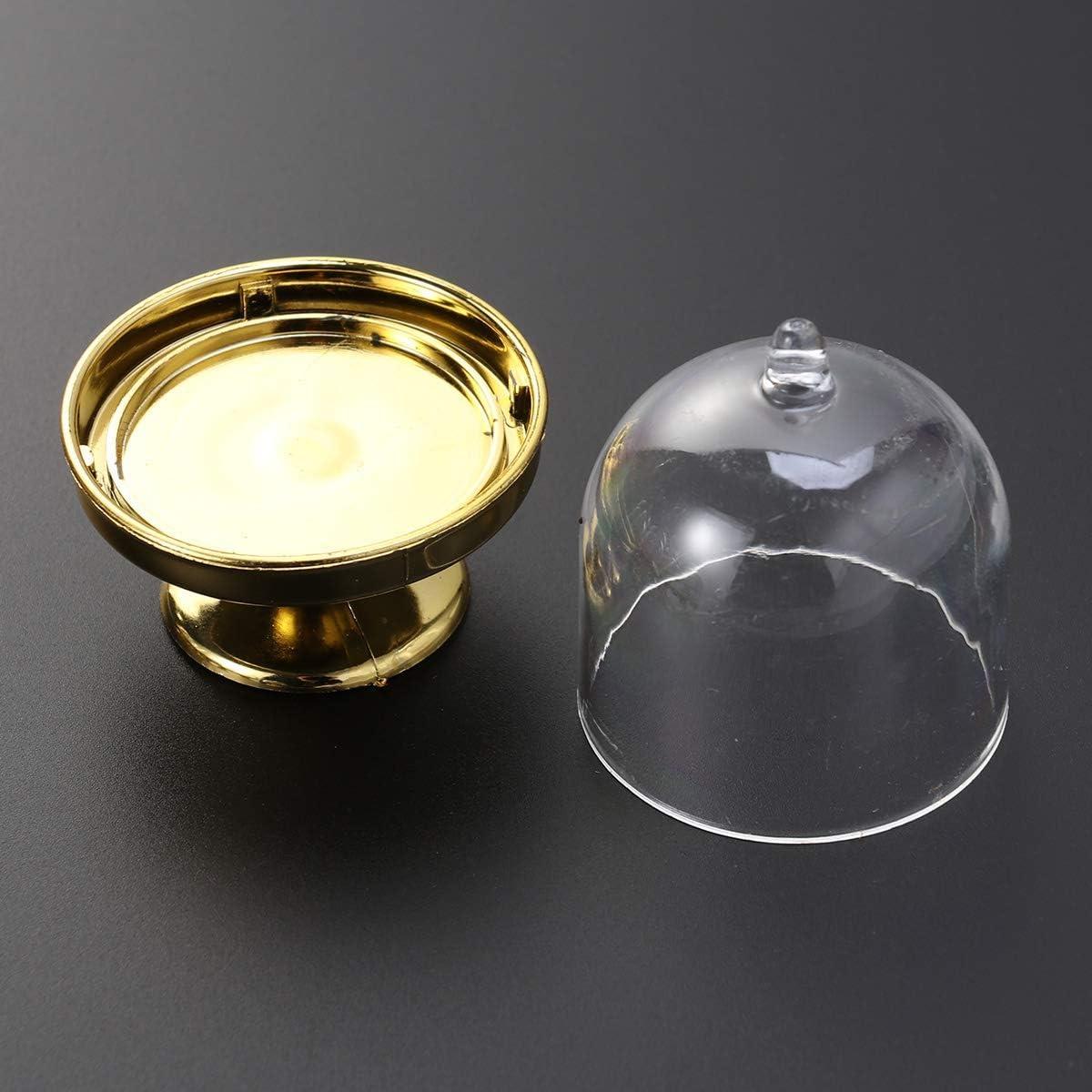 Base dor/ée Aestm Lot de 12 Mini pr/ésentoirs /à g/âteaux en Verre avec Assiette pour Mariage ou f/ête