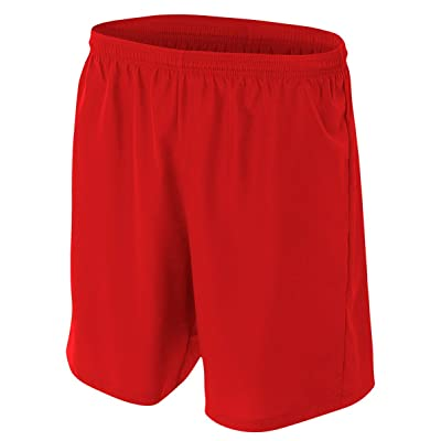 A4 Big Boys' Lightweight Woven Soccer Shorts, Medium, Scarlet Red