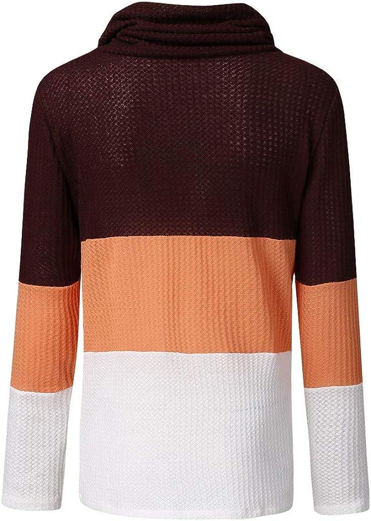 Tigivemen Womens Color Block Cowl Neck Button Chunky Knit Irregular Hem Jumper Pullover
