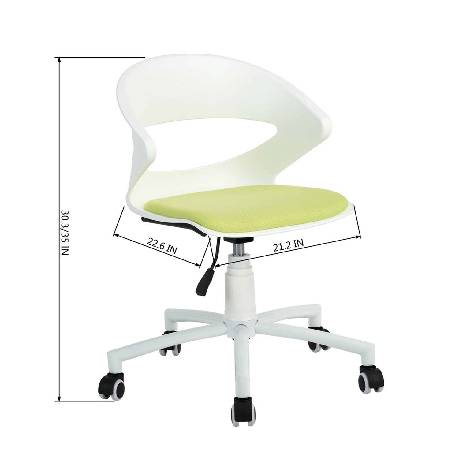 Amazon com homy casa home office chair ergonomic white desk chair pp mid back support with green fabric upholstery seat modern office chair kitchen