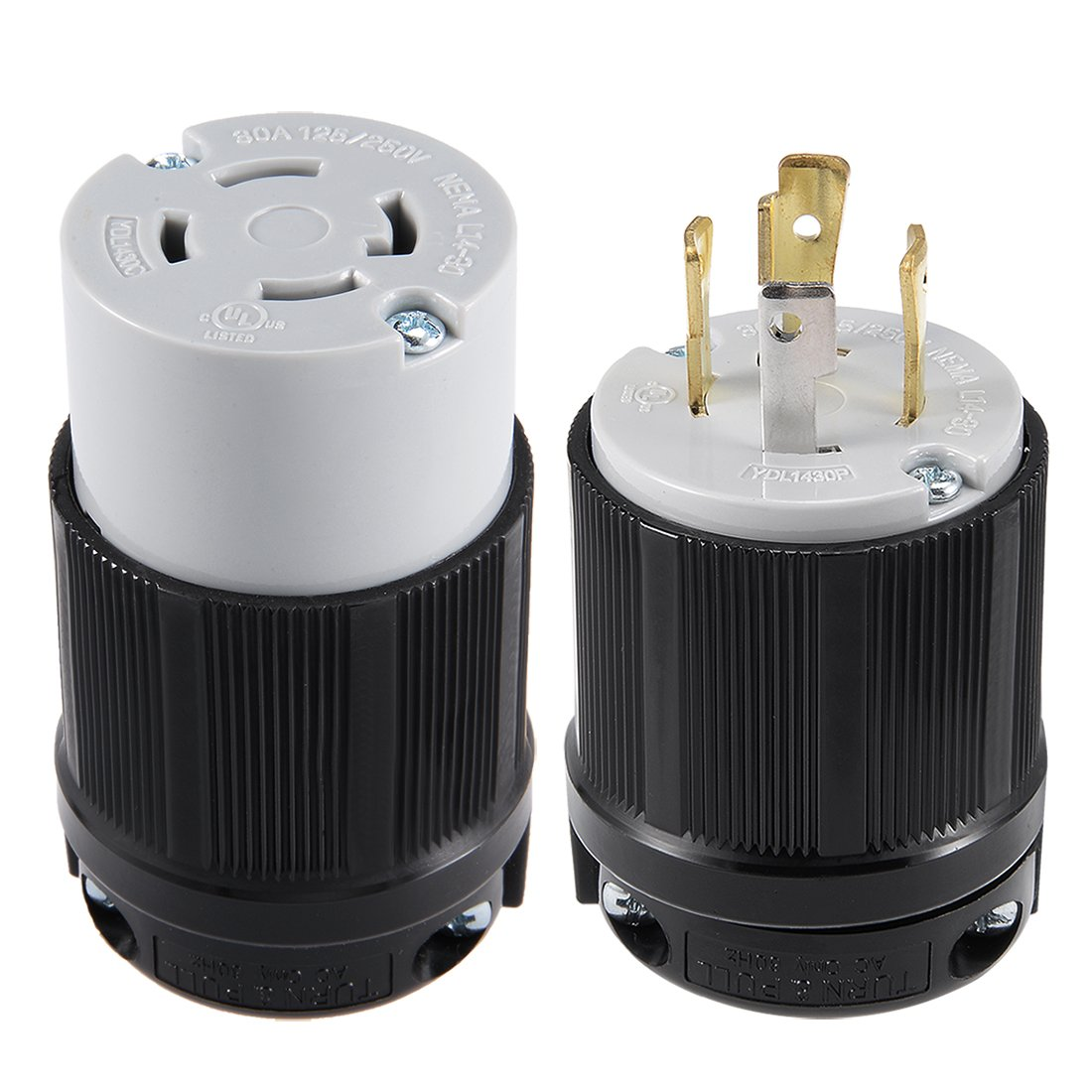 uxcell UL Listed, NEMA L14-30P/L14-30C Plug and Connector Set, 30A, AC 125V/250V, 3P 4W, Industrial Grade, Grouding, for Generator Power Cable, US Plug, YUADON Authorized