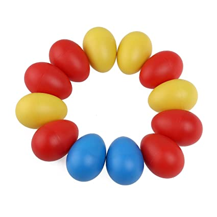 Tinksky 12pcs Plastic Percussion Musical Egg Maracas Egg Shakers Child Kids Toys Musical Instruments Sand Egg random Color