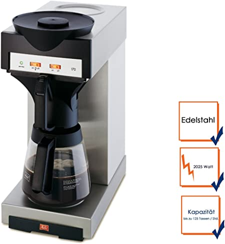 Profesional Melitta filtro de café eléctrica con jarra de cristal, hasta 125 Tazas/hora; m170 m ggg: Amazon.es: Hogar