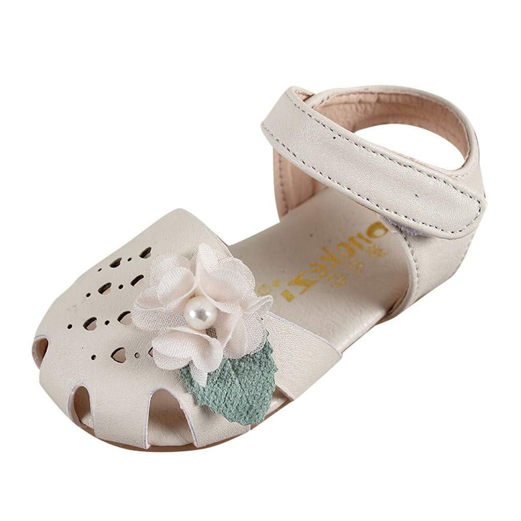 Age:12-15Months, Beige Pretty Flower Summer Flat Shoes For Infant Kids Baby Girls Pear Heart Hallow Sandals Beach Breathable Closed-Toe Sandals Princess Single Crib Shoes