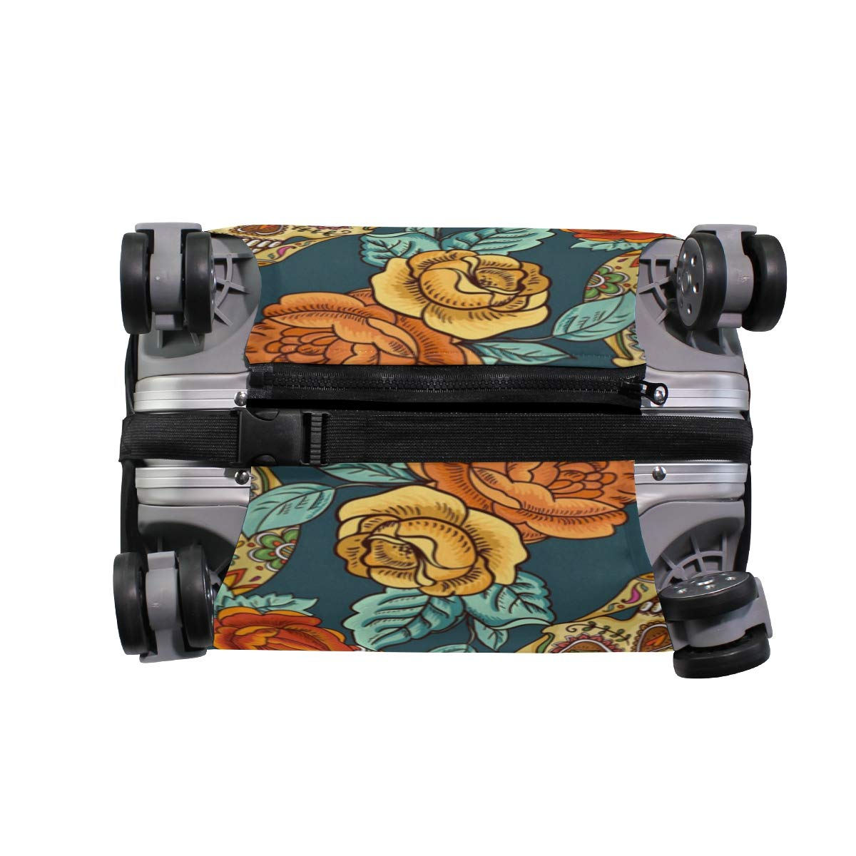 Color Fashion Rose Skull Traveler Lightweight Rotating Luggage Protector Case Can Carry With You Can Expand Travel Bag Trolley Rolling Luggage Protector Case