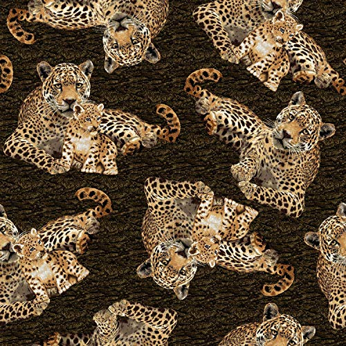 (Cat Fabric - On The Wild Side - Leopards - Tossed Leopards - 100% Cotton )