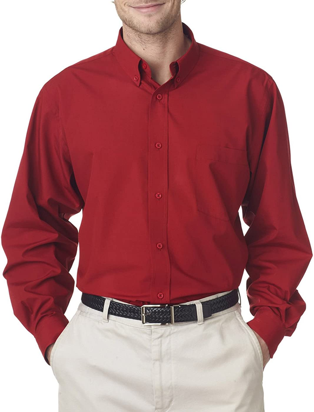 Red UltraClub Mens Easy Care Broadcloth Wrinkle Free Shirt XXX Large