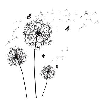 Sourcing Map Wandaufkleber Pusteblume Schmetterling Muster