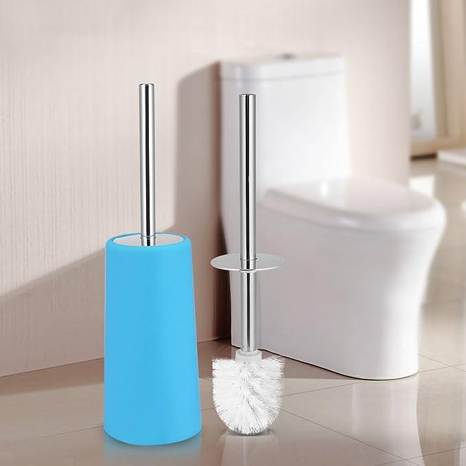 Blu Garsent Scopino Bagno e Portascopino WC in acciaio inox portatile da bagno Set di spazzole per pulizia spazzola con base per bagno.