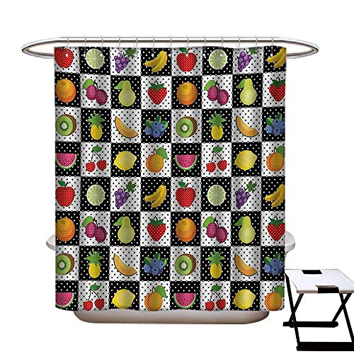 Elvis Presley Chess Set - Black and White Shower Curtains with Shower Hooks Kitchen Fruits and Vegetables Nature with Dots Chess Squares Art Design Fabric Bathroom Set with Hooks W54 x L78 Multicolor