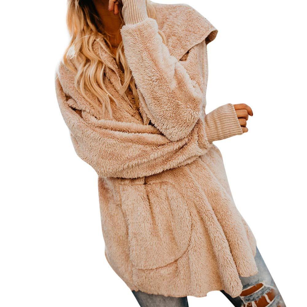 Damen Mantel MYMYG Winter Warm Plü Schjacke Steppmantel Hoodie Faux Wollmantel Cardigan Outwear Mit Kapuze Casual Lose Coat MYMYG-31058WOMEN