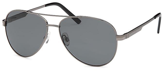 Sonnenbrille verspiegelt mit polarisierten Gläsern, Edelstahlrahmen und Federscharnier in 2 Farben - im Set mit Zubehör (anthrazit)
