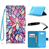 Samsung Galaxy Grand Prime G530 Wallet Case,Colorful lotus pattern ATQ?? Stand Wallet Leather Case Magnetic Wallet Pouch with Luxury Hang Rope Wrist Strap and Built In Kickstand For Samsung Galaxy Grand Prime G530