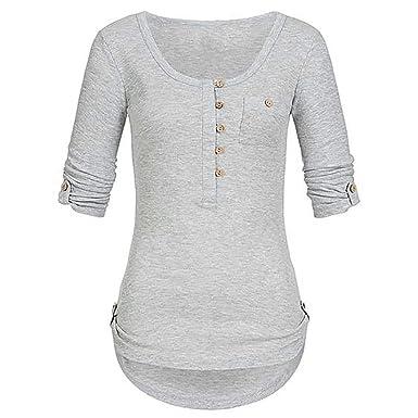 de6d84d2711254 Riou Langarmshirt Damen Tops Hemd Longsleeve Knopf T Shirt Damen Frauen  Tops Oberteile Hoodie Pullover Damen