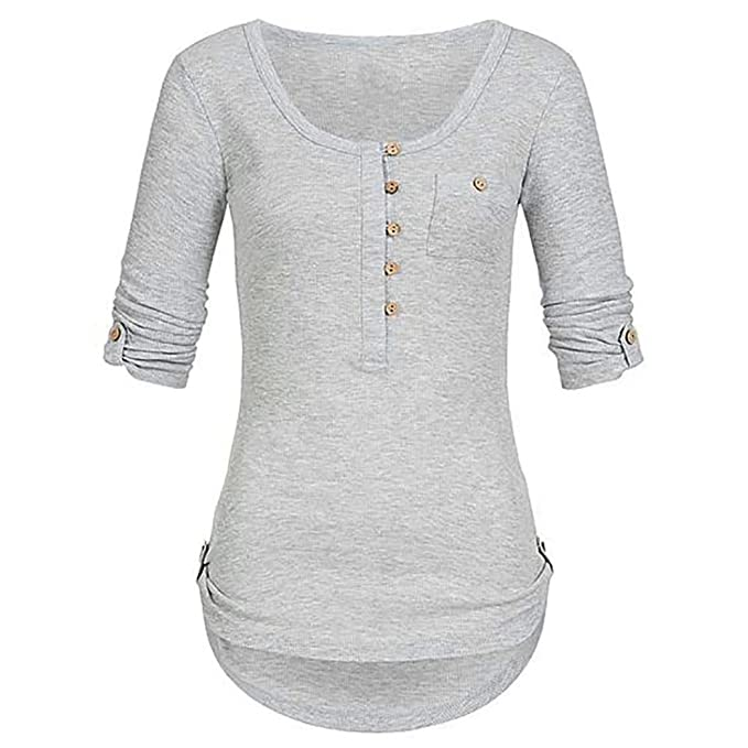 Damen Shirt Longsleeve Hemd Shirt Rundhals Sweatshirt Casual Stretch Tunika Top