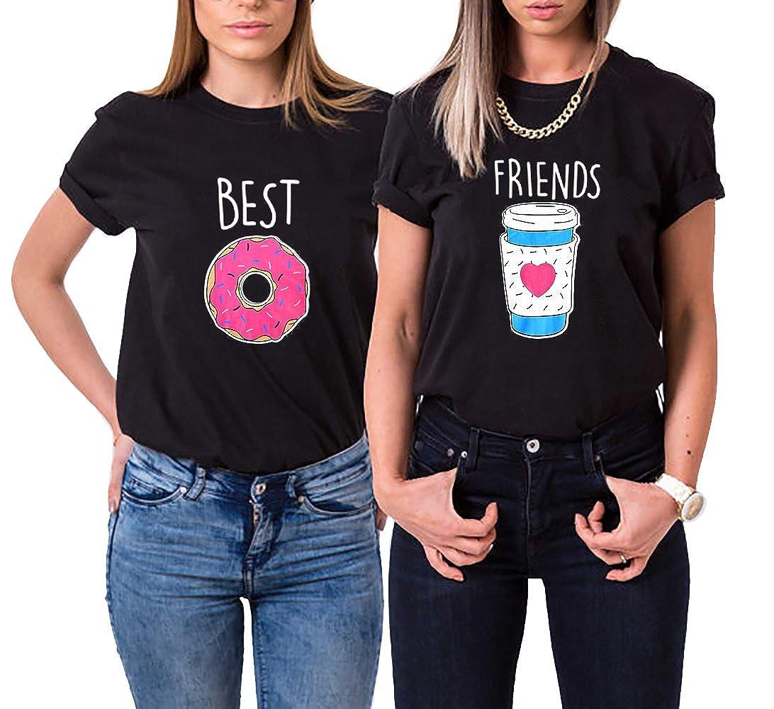 fb096eeda55 Amazon.com  Women Tee Cotton Best Friend BFF Shirts Matching Sister Cartoon  Donut Coffee Crop Tops  Clothing