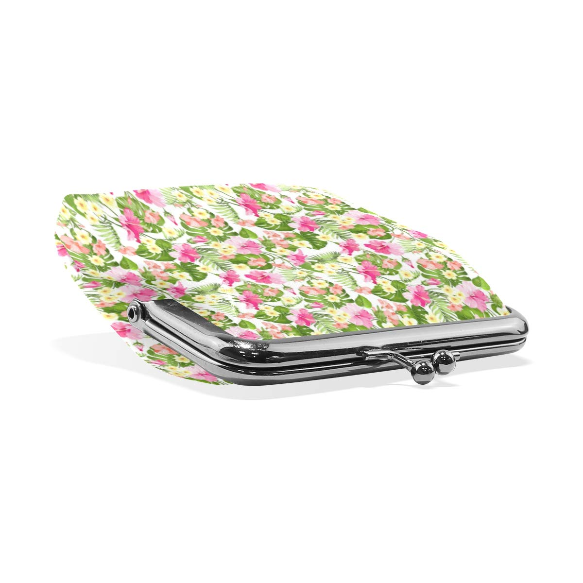 Exquisite Buckle Coin Purses Lily With Pink Flowers Mini Wallet Key Card Holder Purse for Women
