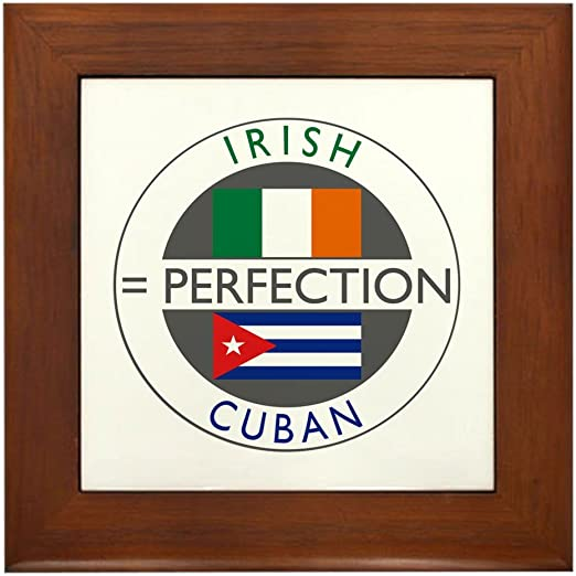 Cafepress Irish Cuban Heritage Flags Framed Tile Decorative Tile Wall Hanging Home Decor Home Decor Accents