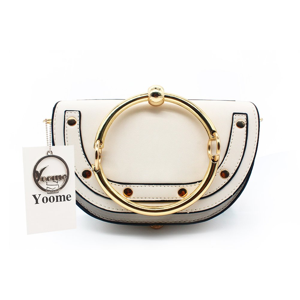 Yoome Women Punk Circular Ring Handle Handbags Small Round Purse Crossbody Bags For Girls YooB131-Cream Pink