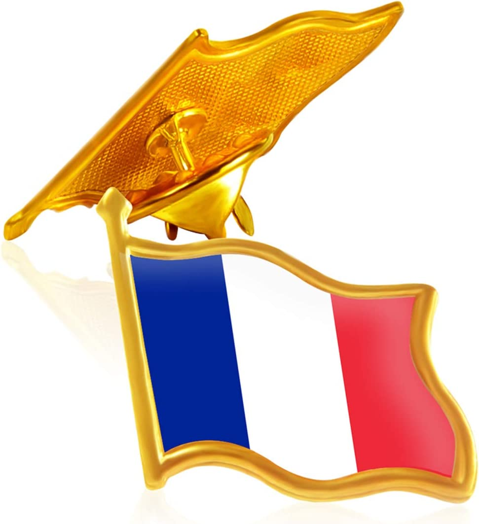 Rhungift 10 Pack Metal France Flag Lapel Pin Waving franch Flag Pins bulk Patriotic Pin Series