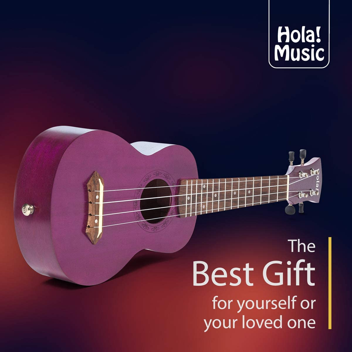 Hola Padded Gig Bag Red Music HM-121RD+ Deluxe Mahogany Soprano Ukulele Bundle with Aquila Strings Strap and Picks