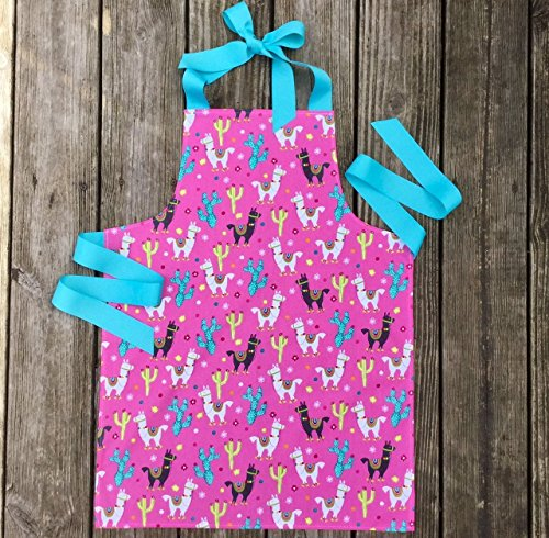 Handmade Bright Llama Kitchen Crafts Art Apron for Girl from Sara Sews